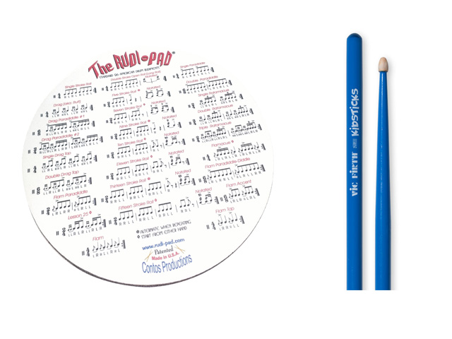 Rudi-Pad Drum Practice Pad with Vic Firth Hickory Wood Blue Kidsticks