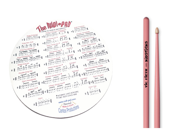 Rudi-Pad Drum Practice Pad with Vic Firth Hickory Wood Pink Kidsticks
