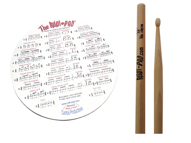 Rudi-Pad Drum Practice Pad with Drumsticks Pic